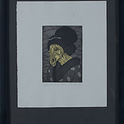 """Title: Geisha Girl<br /> Artist: Marianne Levy<br /> Date: 2016<br /> Medium: Intaglio<br /> Dimensions: 15 x 19""""<br /> Instructor: Terri Goodhue<br /> Awards: 1st Place in Printmaking, 40th Annual Student Art Exhibition<br /> Status: Available<br /> Location: HLC Storage"""