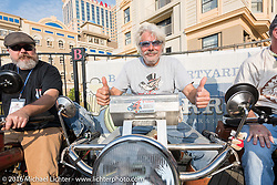 Kevin Naser (L) of Nebraska on 1916 Indian next to Frank Westfall of New York on his 1912 Henderson on the Atlantic City boardwalk at the start of the Motorcycle Cannonball Race of the Century. Stage-1 from Atlantic City, NJ to York, PA. USA. Saturday September 10, 2016. Photography ©2016 Michael Lichter.