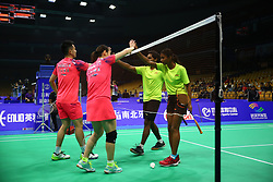 April 25, 2018 - Wuhan, Wuhan, China - Wuhan, CHINA-25th April 2018: Chinese badminton players Zheng Siwei and Huang Yaqiong defeats their Maldivian counterparts 2-0 at 2018 Badminton Asia Championships in Wuhan, central China's Hubei Province, April 25th, 2018. (Credit Image: © SIPA Asia via ZUMA Wire)