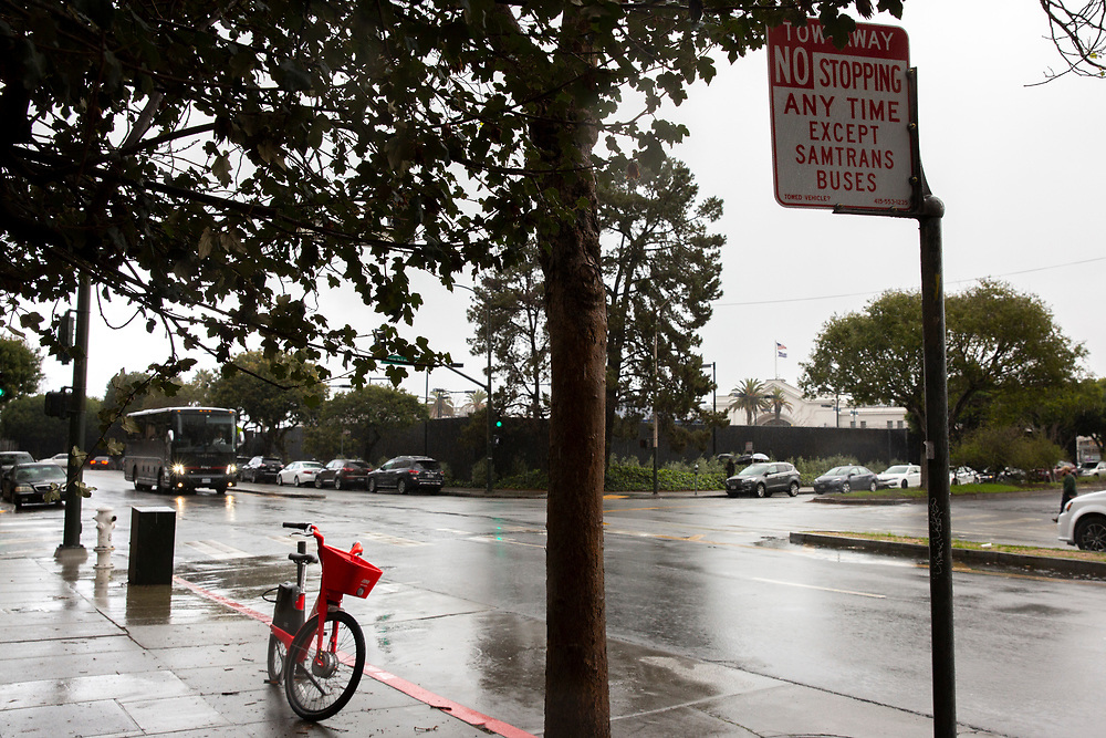 The sign along Drumm Street between Washington Street and Clay Street on Saturday, Feb. 9, 2019, in San Francisco, Calif. The entire block of parking on the west side of Drumm Street has been taken out of service to make room for a rest stop for SamTrans bus drivers.