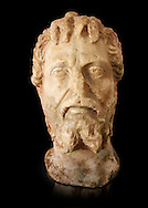 Roman sculpture of the Emperor Septime Severe, excavated  from Choud El Battan sculpted circa 193-211AD. The Bardo National Museum, Tunis, Inv No: C.73 .<br /> <br /> If you prefer to buy from our ALAMY STOCK LIBRARY page at https://www.alamy.com/portfolio/paul-williams-funkystock/greco-roman-sculptures.html . Type -    BARDO    - into LOWER SEARCH WITHIN GALLERY box - Refine search by adding a subject, place, background colour, museum etc.<br /> <br /> Visit our CLASSICAL WORLD HISTORIC SITES PHOTO COLLECTIONS for more photos to download or buy as wall art prints https://funkystock.photoshelter.com/gallery-collection/The-Romans-Art-Artefacts-Antiquities-Historic-Sites-Pictures-Images/C0000r2uLJJo9_s0c