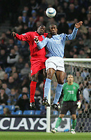 Fotball<br /> England 2004/2005<br /> Foto: SBI/Digitalsport<br /> NORWAY ONLY<br /> <br /> Manchester City v Birmingham City, City of Manchester Stadium, Manchester. Premiership, 20/04/2005. <br /> <br /> Emile Heskey and Sylvain Distin