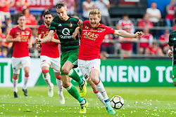 Robin van Persie of Feyenoord, Fredrik Midtsjo of AZ during the Dutch Toto KNVB Cup Final match between AZ Alkmaar and Feyenoord on April 22, 2018 at the Kuip stadium in Rotterdam, The Netherlands.