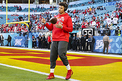 February 2, 2020, Miami Gardens, FL, USA: Kansas City Chiefs quarterback Patrick Mahomes (15) practices before playing against the San Francisco 49ers in Super Bowl LIV at Hard Rock Stadium in Miami Gardens, Fla., on Sunday, Feb. 2, 2020. (Credit Image: © TNS via ZUMA Wire)