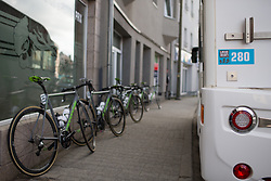 Cylance Pro Cycling bikes are lined up before the Liege-Bastogne-Liege Femmes - a 135.5 km road race, between  Bastogne and Ans on April 23, 2017, in Liege, Belgium.