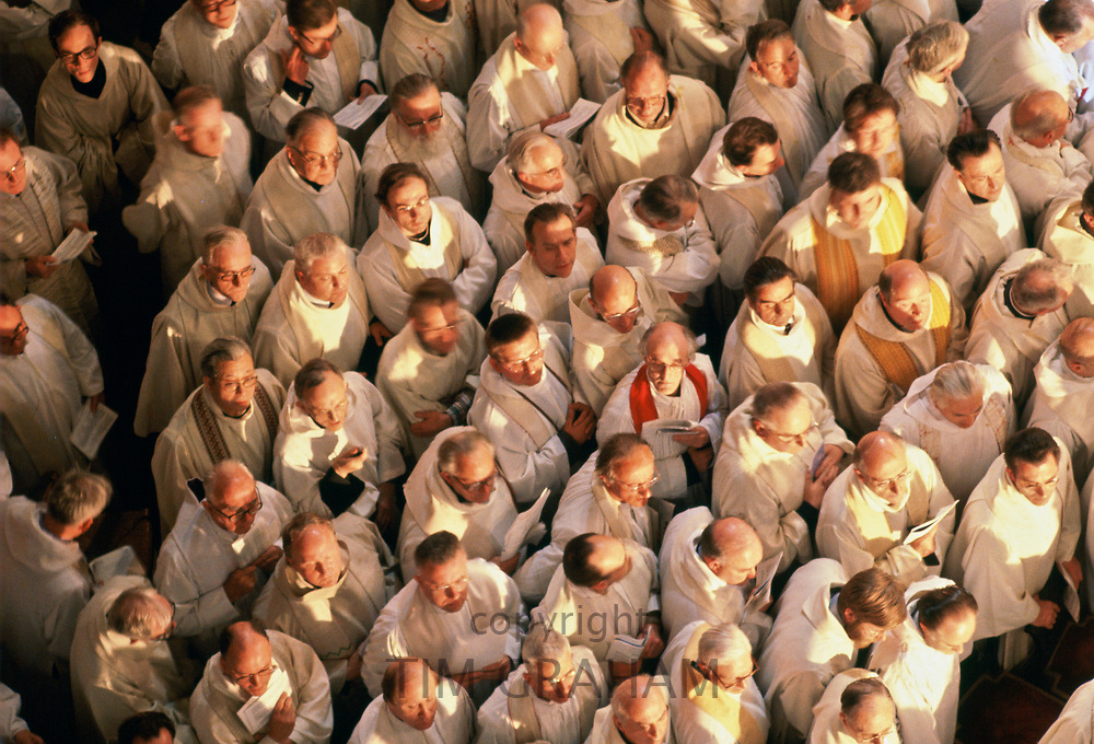 Priests attend Mass in Notre Dame Cathedral during Pope John Paul II Visit to France in 1980