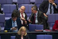 17 FEB 2016, BERLIN/GERMANY:<br /> Peter Altmaier (L), CDU, Kanzleramtsminister, und Thomas de Maiziere (R), CDU, Bundesinnenminister, im Gespraech, waehrend der Debatte zur Regierunsgerklaerung der Bundeskanzlerin zum Europaeischen Rat, Plenum, Deutscher Bundestag<br /> IMAGE: 20160217-03-054<br /> KEYWORDS: Debatte, Gespräch, Thomas de Maizière