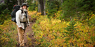 A mature bearded man pauses on the trail along Junction Lake in the Indian Heaven Wilderness in the Gifford Pinchot National Forest - Cascade Mountain Range of Washington state in autumn.