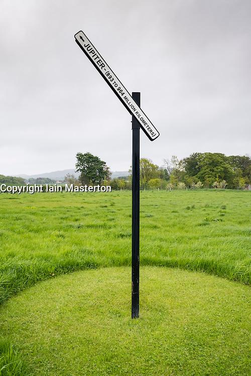 Sculpture Signpost to Jupiter by Peter Liversidge at Jupiter Artland outside Edinburgh , Scotland , United Kingdom; editorial use only