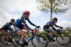 Gabby Shaw (GBR) of Team WNT leans into a sharp corner during the first lap the Omloop van Borsele - a 107.1 km road race, starting and finishing in s'-Heerenhoek on April 22, 2017, in Borsele, the Netherlands.