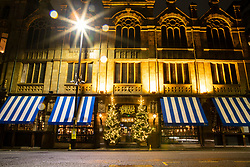 © Licensed to London News Pictures. 18/12/2020. Manchester, UK. Hospitality business Albert's Schloss sits quiet and empty as the city remains in Tier 3. For many businesses this weekend before Christmas should be the busiest time of the year. Photo credit: Kerry Elsworth/LNP