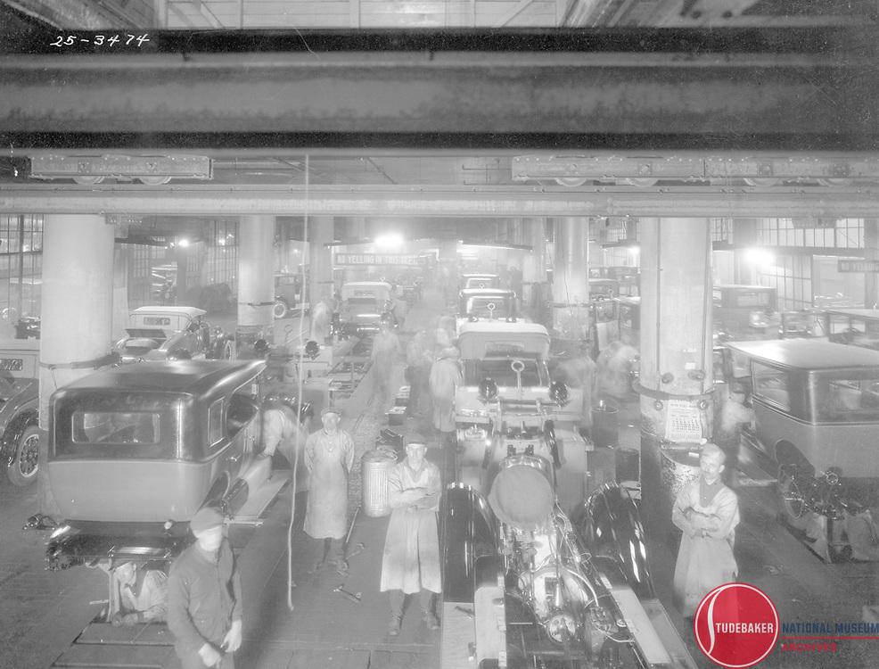 Studebaker's final assembly line, January, 1926.