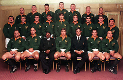 The South African Springbok team selected for Saturday's match against the Lion's at Twickenham line up for a photograph at the Westbury Hotel in London today (Friday).  Back Row (left to right): Naka Drotske; Adrian Garvey; Bobby Skinstad;  Krynauw Otto; Dick Muir; Werner Swanepoel; Middle Row (left to right): Willie Meyer; Percy Montgomery; Andre Snyman; Henry Honiball; Pieter Rossouw; Justin Swart; Andrew Aitken; Jannie de Beer; Dan van Zyl;  Front Row (left to right ): Pieter Du Randt; Mark Andrews; Arthob Petersen (manager); Gary Teichmann; Nick Mallett (coach); James Small;  James Dalton.  Photo by Fiona Hanson/PA