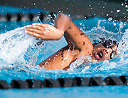 CALABASA, CA - MARCH 30, 2011: Sophomore and Junior Varsity swimmer James Palermo of the Calabasas High School Coyotes competes in the Men's 400 Meter Freestyle Relay during a meet at home against the Malibu High School Sharks on Wednesday March 30, 2011 in Calabasas, California. (Photo by Suzanne Tylander ©2011)
