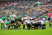 Romania's Valentin Calafeteanu puts in the scrum during the Rugby World Cup Pool D match between Ireland and Romania at Wembley Stadium, London, England on 27 September 2015. Photo by Phil Duncan.