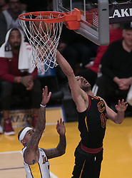 March 11, 2018 - Los Angeles, California, U.S - Jose Calderon #81 of the Cleveland Cavaliers goes for a layup during their NBA game with the Los Angeles Lakers on Sunday March 11, 2018 at the Staples Center in Los Angeles, California. Lakers defeat Cavaliers, 127-113. (Credit Image: © Prensa Internacional via ZUMA Wire)