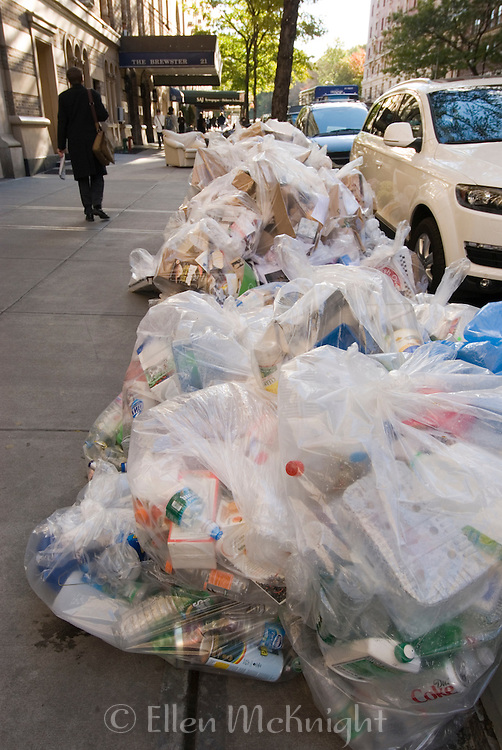 Bags of recyclables left on the curb for pickup on Manhattan's Upper West Side.