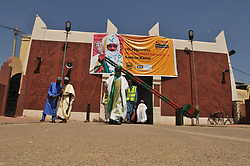 Oct. 16, 2015 - Kano, Nigeria - A man seen walking out of the Palace of the Emir of Kano, as people gather to welcome the Emir of Kano Muhammad Sanusi II as he returns back from this year hajj 2015, Kano, Nigeria 2015 16 October 2015 Photo: next24online  (Credit Image: © Next24online/NurPhoto via ZUMA Press)