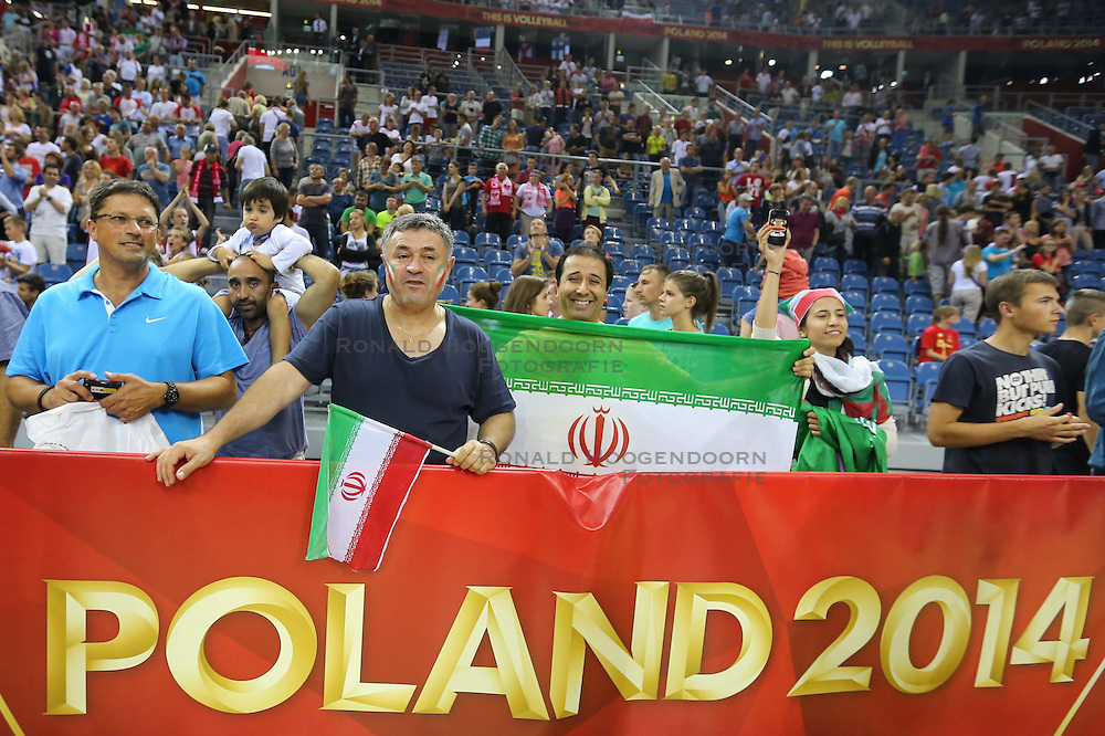 06.09.2014, Krakow Arena, Krakau, POL, FIVT WM, Belgien vs Iran, Gruppe D, im Bild Kibice Iranu // during the FIVB Volleyball Men's World Championships Pool D Match beween Belgium and Iran at the Krakow Arena in Krakau, Poland on 2014/09/06. <br /> <br /> ***NETHERLANDS ONLY***