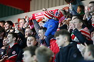 Accrington fans celebrate their sides goal during the The FA Cup 3rd round match between Accrington Stanley and Ipswich Town at the Fraser Eagle Stadium, Accrington, England on 5 January 2019.