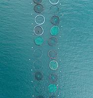 Aerial view of fish farm pools in the beautiful Mediterranean sea, Greece