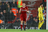 James Milner of Liverpool reacts after his effort went wide of the goal. Premier League match, Liverpool v Chelsea at the Anfield stadium in Liverpool, Merseyside on Saturday 25th November 2017.<br /> pic by Chris Stading, Andrew Orchard sports photography.