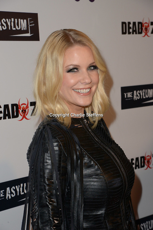 Carrie Keagan attends the Los Angeles premiere of the SyFy movie 'Dead 7' on April 1, 2016 at the Harmony Gold Theater in Los Angeles, California. <br /> (Photo: Charlie Steffens/Gnarlyfotos)