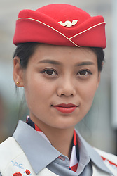 September 15, 2017 - Chenghu City, United States - A Tour hostess awaiting for the Award Ceremony of the fourth stage of the 2017 Tour of China 1, the 3.3 km Chenghu Jintang individual time trial. .On Friday, 15 September 2017, in Jintang County, Chenghu City,  Sichuan Province, China. (Credit Image: © Artur Widak/NurPhoto via ZUMA Press)