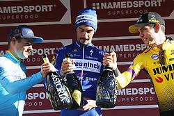 March 9, 2019 - Siena, Italy - L-R, second Danish Jakob Fuglsang of Astana Pro Team, winner French Julian Alaphilippe of Deceuninck - Quick-Step and third Belgian Wout Van Aert of Team Jumbo-Visma celebrate on the podium after the Strade Bianche one day cycling race in Siena, Italy, Saturday 09 March 2019...BELGA PHOTO YUZURU SUNADA (Credit Image: © Yuzuru Sunada/Belga via ZUMA Press)