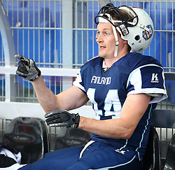 01.06.2014, NV Arena, St. Poelten, AUT, American Football Europameisterschaft 2014, Gruppe A, Finnland (FIN) vs Schweden (SWE), im Bild Ville Kurvinen, (Team Finland, WR, #44) // during the American Football European Championship 2014 group A game between Finland and Sweden at the NV Arena, St. Poelten, Austria on 2014/06/01. EXPA Pictures © 2014, PhotoCredit: EXPA/ Thomas Haumer