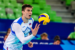 Klemen Cebulj of Slovenia during volleyball match between Cuba and Slovenia in Final of FIVB Volleyball Challenger Cup Men, on July 7, 2019 in Arena Stozice, Ljubljana, Slovenia. Photo by Matic Klansek Velej / Sportida