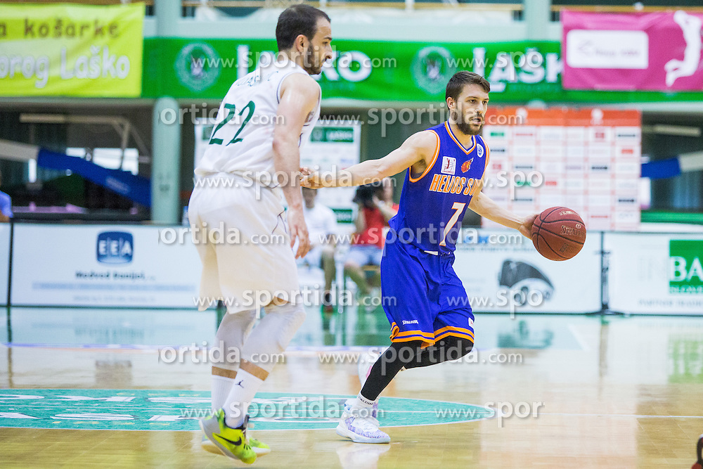 Jan Mocnik of KK Helios Suns  during basketball match between KK Zlatorog and KK Helios Suns in 1st match of Nova KBM Slovenian Champions League Final 2015/16 on May 29, 2016  in Dvorana Zlatorog, Lasko, Slovenia.  Photo by Ziga Zupan / Sportida