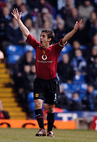 Photo: Glyn Thomas.<br />Birmingham City v Manchester United. Carling Cup.<br />20/12/2005.<br /> Gary Neville reacts in disbelief as a decision goes against Manchester United.
