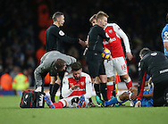 Arsenal's Olivier Giroud gets injured on the final whistle during the Premier League match at the Emirates Stadium, London. Picture date October 26th, 2016 Pic David Klein/Sportimage