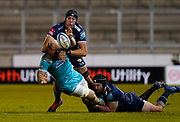 Sale Sharks prop Bevan Rodd and JP Du Preez combines to tackle Warriors flanker Matt Kvesic during the Gallagher Premiership match Sale Sharks -V- Worcester Warriors at The AJ Bell Stadium, Greater Manchester,England United Kingdom, Friday, January 08, 2021. (Steve Flynn/Image of Sport)