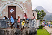 Young students playing after leaving school in the afternoon in Santo António do Príncipe