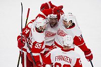 05 April 2014: Niklas Kronwall 55 of the Detroit Red Wings celebrates his goal with teammates during the NHL Eishockey Herren USA match against the Montreal Canadiens at the Bell Centre in Montreal Quebec, Canada. The Canadiens defeat the Red Wings 5-3. NHL Eishockey Herren USA APR 05 Red Wings at Canadiens <br />