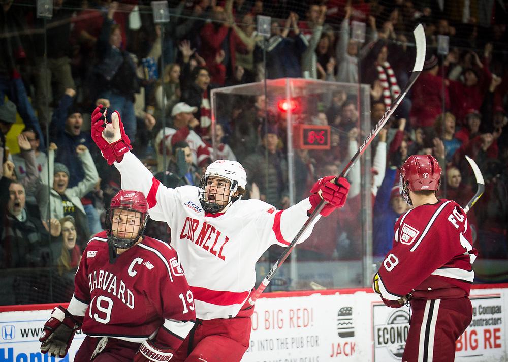 Cornell University center Jeff Malott celebrates scoring against Harvard University during a game at Lynah Rink in Ithaca, New York on November 11 2017.