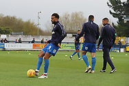 AFC Wimbledon midfielder Tom Soares (19) warming up during the EFL Sky Bet League 1 match between AFC Wimbledon and Southend United at the Cherry Red Records Stadium, Kingston, England on 24 November 2018.