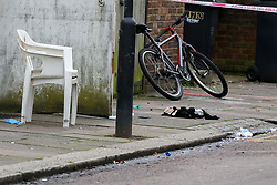 © Licensed to London News Pictures. 31/01/2020. London, UK. Items of clothing within the crime scene on Downsett Road in Tottenham. A man is in hospital after he was stabbed on Downsett Road in north London this morning. His condition is not known. A man has been arrested on suspicion of grievous bodily harm. Photo credit: Dinendra Haria/LNP