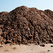 Piled of mud at construction site