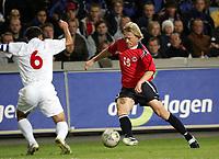Fotball<br /> VM-kvalifisering<br /> Norge v Hviterussland<br /> Ullevaal stadion<br /> 8. september 2004<br /> Foto: Digitalsport<br /> Jan Derek Sørensen, Norge