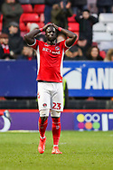 Charlton Athletic defender Mouhamadou-Naby Sarr (23) shows his disappointment after his team misses a chance to score during the EFL Sky Bet League 1 match between Charlton Athletic and Southend United at The Valley, London, England on 9 February 2019.