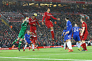 Liverpool Goalkeeper Simon Mignolet punches the ball clear. Premier League match, Liverpool v Chelsea at the Anfield stadium in Liverpool, Merseyside on Saturday 25th November 2017.<br /> pic by Chris Stading, Andrew Orchard sports photography.