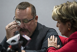 March 28, 2019 - USA - Lorry Borowski's brother, Mark Borowski, wipes away tears while speaking during a news conference in 2017 about the planned parole of Thomas Kokoraleis, who was convicted of murdering Lorry Borowski in 1982. (Credit Image: © Lou Foglia/Chicago Tribune/TNS via ZUMA Wire)