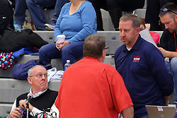 30 December 2016: Dan Highland & Dave Ollofson. Rockford Lutheran v Camp Point Central girls, State Farm Holiday Classic Coed Basketball Tournament at Shirk Center, Bloomington Illinois