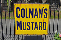 Logo, signage, Colman's Mustard, Bishops Lydeard, West Somerset Railway, UK, July, 2014, 201407093441<br />