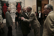 Norman Rosenthall, George, ( glasses) and Gilbert.  Gilbert and George Major Exhibition. Tate Modern. Afterwards dinner at Christchurch Spitafields. London. 13 February 2007.  -DO NOT ARCHIVE-© Copyright Photograph by Dafydd Jones. 248 Clapham Rd. London SW9 0PZ. Tel 0207 820 0771. www.dafjones.com.