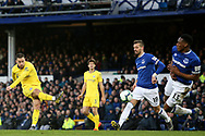 Chelsea midfielder Eden Hazard (10) shoots at goal during the Premier League match between Everton and Chelsea at Goodison Park, Liverpool, England on 17 March 2019.