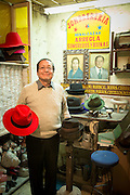 Hat Maker Quito, Ecuador, South America Cesar Anchala runs Sombrereria Benalcazar, a hat shop established by his father 65 years ago. He uses the same moulds and irons to form the varied styles of trilbies on offer, made with felt from sheep, goats and rabbits.